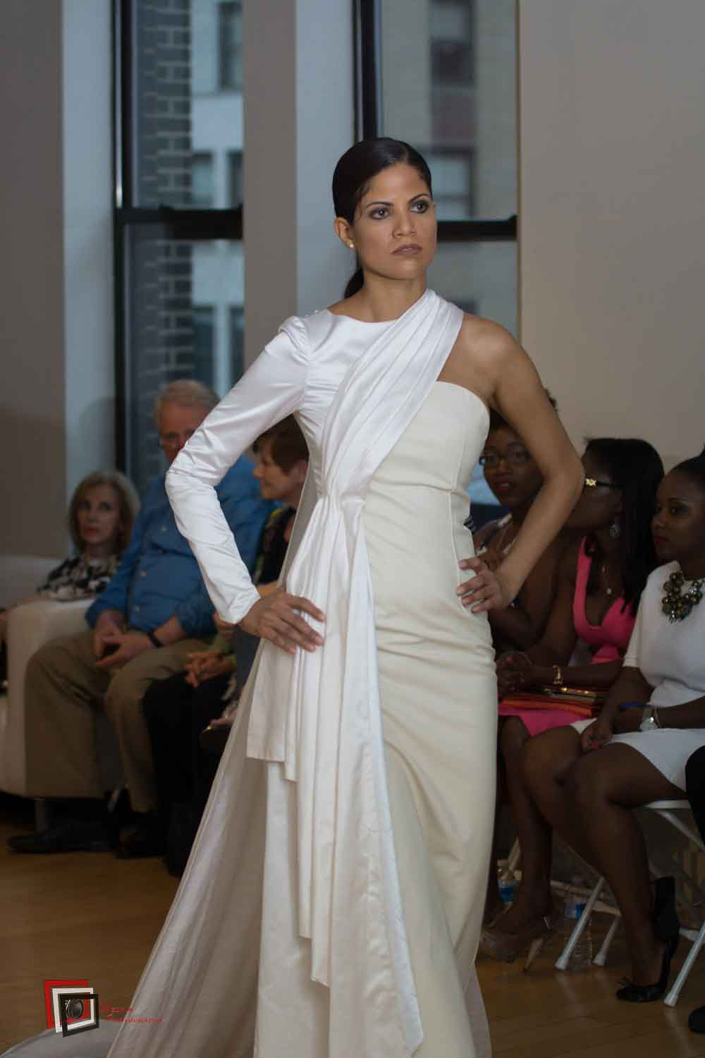 Daphné -Wedding Gown in Satin silk and Leather.