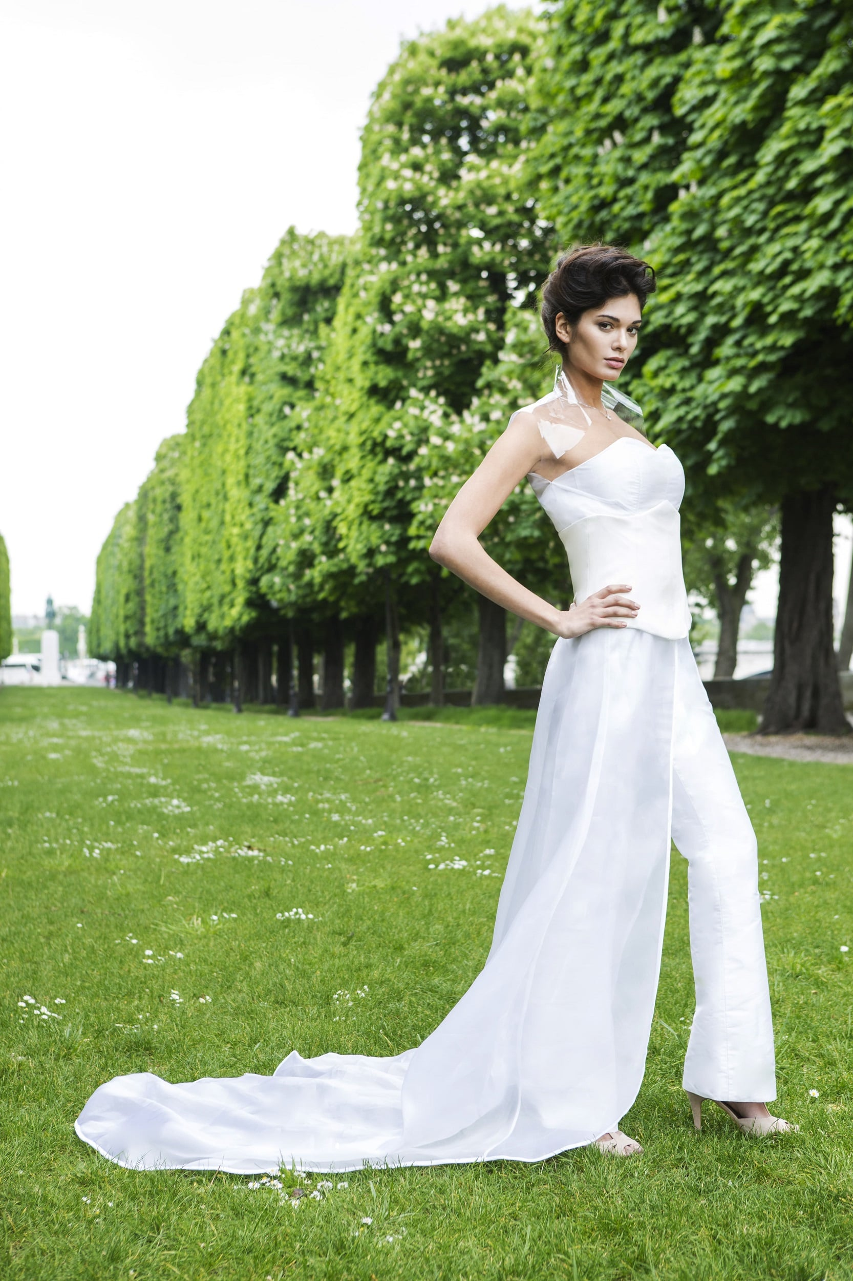 Silk jumpsuit wedding dress by Laureen Couture