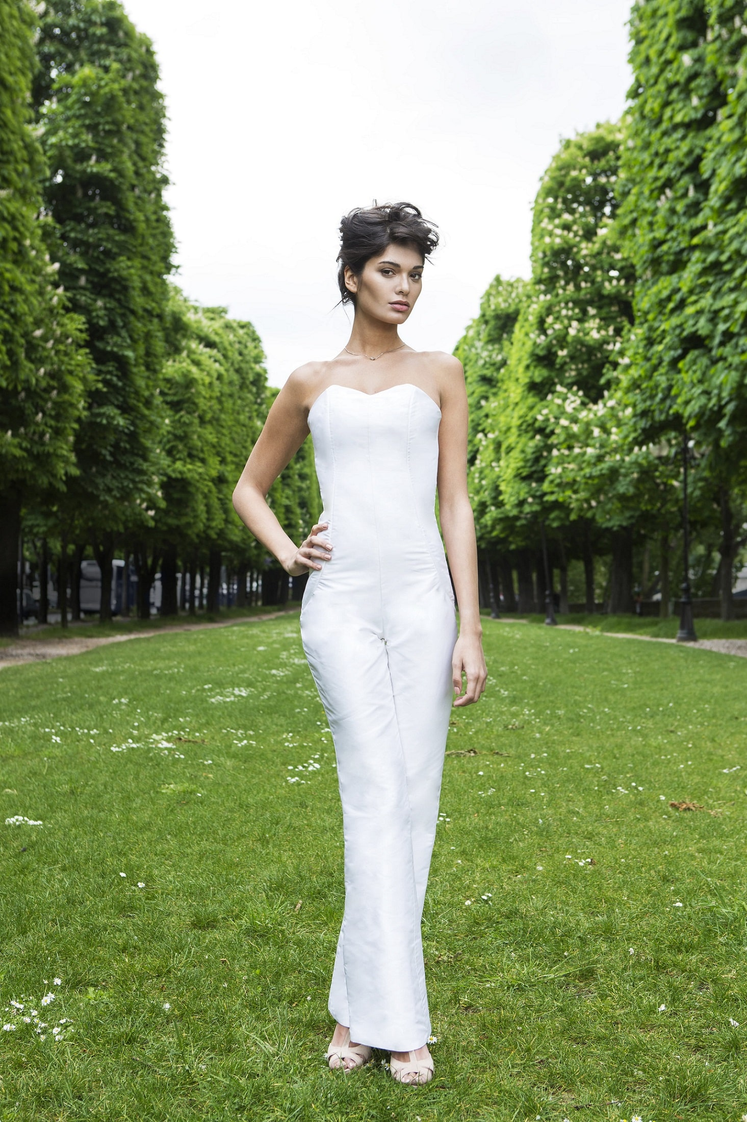 Strapless Jumpsuit Wedding Gown by Laureen Couture