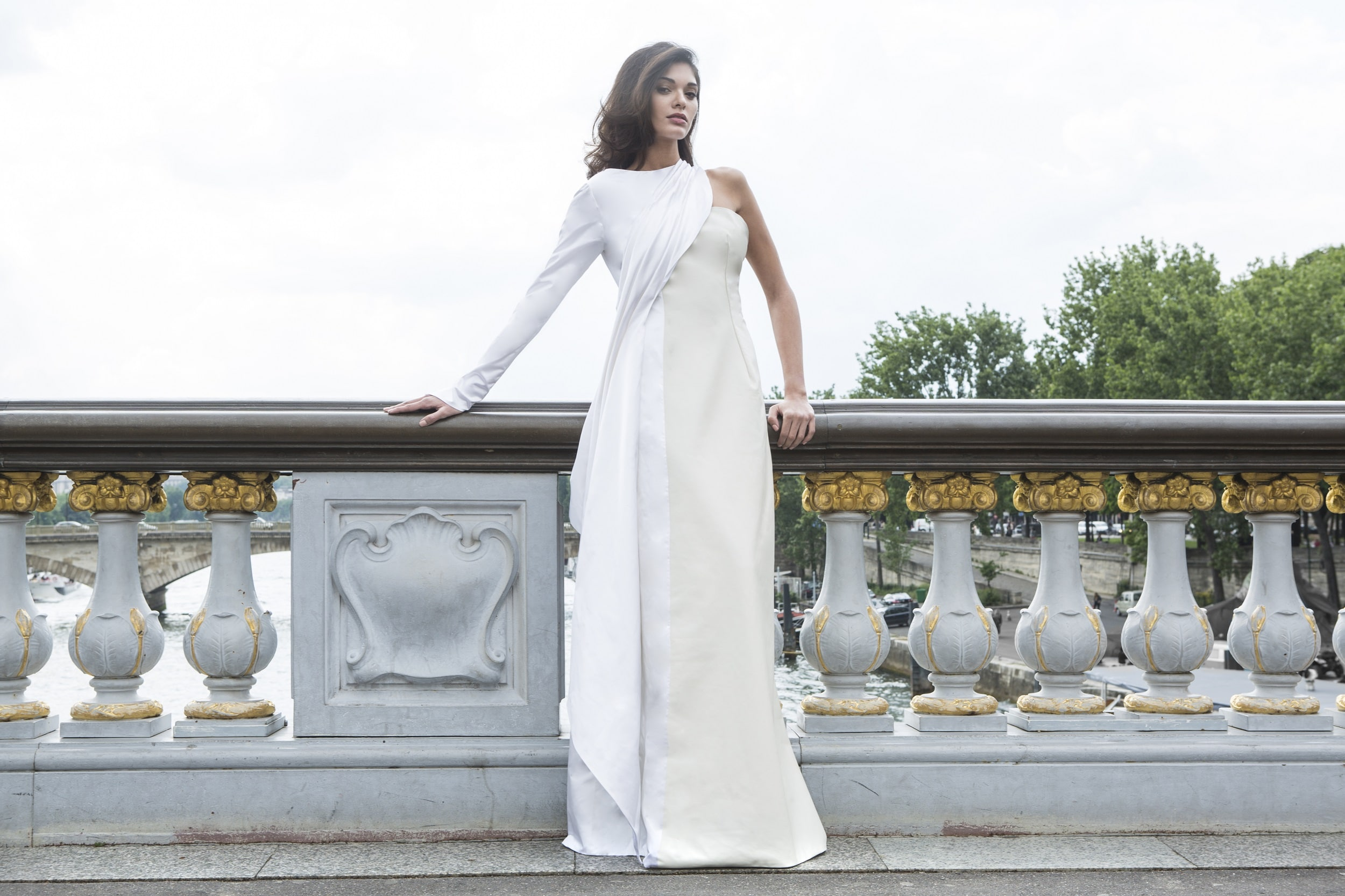 Daphné- White Leather Weadding Gown by Laureen Couture