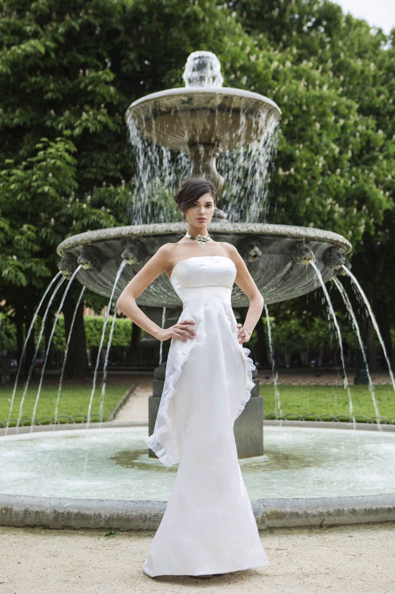 Maya- Strapless white dress by Laureen Couture