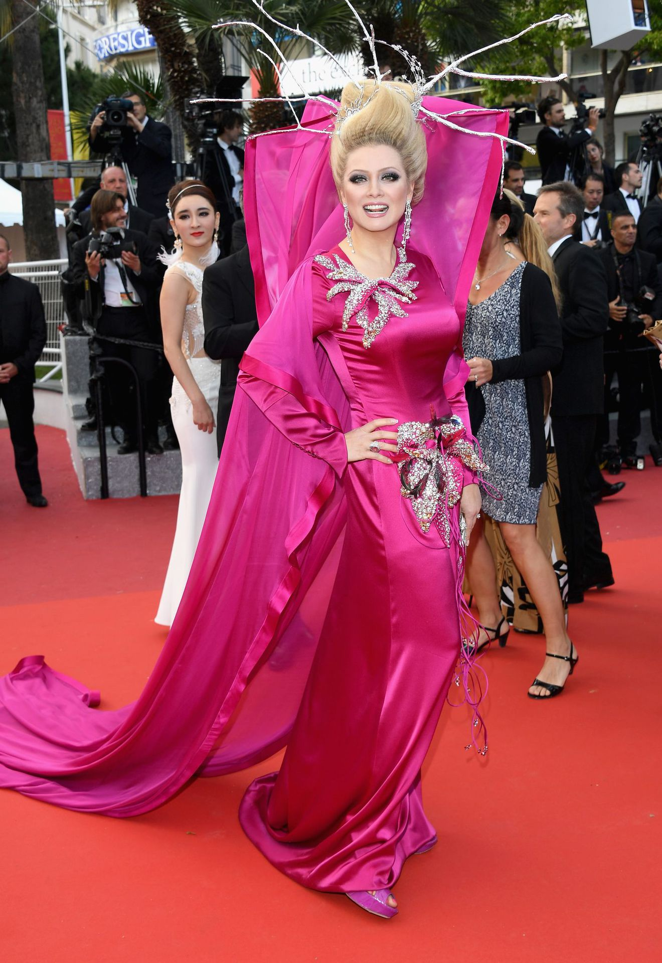 Ornamented Pink Dress for the red carpet of Cannes